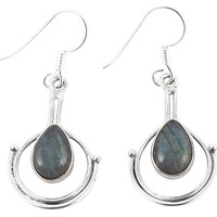 Jumbo Fantastic!! 925 Silver Labradorite Earrings