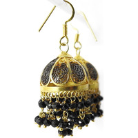 Purfect Match !! 925 Sterling Silver Black Onyx Gemstone Jhumki