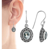 Blooming Garden!! 925 Sterling Silver Blue Topaz Earrings