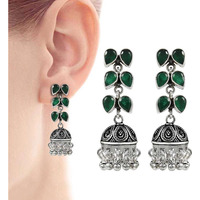 Fashion Design !! 925 Sterling Silver Green Onyx Earrings