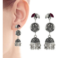 Maya Freedom !! 925 Sterling Silver White CZ, Ruby Earrings