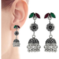 Franqipani Queen !! 925 Sterling Silver Green Onyx, Ruby Earrings