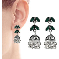 Fine !! 925 Sterling Silver Green Onyx Earrings