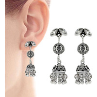 Large Stunning !! 925 Sterling Silver White CZ Earrings