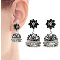 Stunning !! 925 Sterling Silver Green Onyx, White CZ, Ruby Jhumka