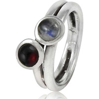 Stunning Natural Rich! 925 Sterling Silver Garnet, Rainbow Moonstone Ring