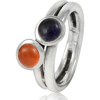Pale Beauty! 925 Sterling Silver Amethyst, Carnelian Ring