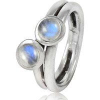 Natural! 925 Sterling Silver Rainbow Moonstone Ring