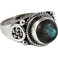 Large Fashion! 925 Sterling Silver Blue Labradorite Ring