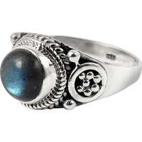 Big Natural! 925 Sterling Silver Blue Labradorite Ring
