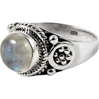 Gorgeous Design! 925 Sterling Silver Rainbow Moonstone Ring