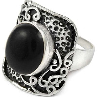 Spell! 925 Sterling Silver Black Onyx Ring
