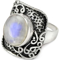 Stylish Design! 925 Sterling Silver Rainbow Moonstone Ring