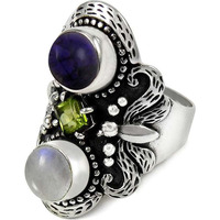 Modern Style! 925 Sterling Silver Amethyst, Peridot, Rainbow Moonstone Ring