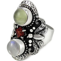 High Work Quality! 925 Sterling Silver Garnet, Prehnite, Rainbow Moonstone Ring