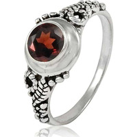 Cute!! 925 Sterling Silver Garnet Ring