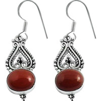 Beautiful Design !! 925 Sterling Silver Carnelian Earrings