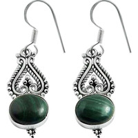 Very Light !! 925 Sterling Silver Malachite Earrings