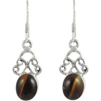 Lilac Kiss !! 925 Sterling Silver Tiger Eye Earrings