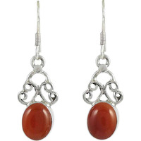 Big Delicate !! 925 Sterling Silver Carnelian Earrings