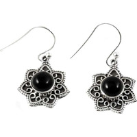 Passionate Love!! 925 Silver Black Onyx Earrings