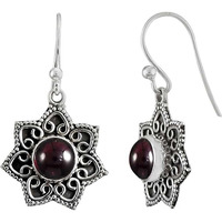 Circle Of Love ! 925 Sterling Silver Garnet Earrings