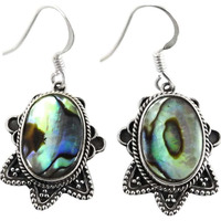 New Exclusive Style !! Ablone Shell 925 Sterling Silver Earrings