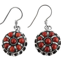 Clinquant !! Coral 925 Sterling Silver Earrings