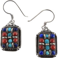 Big Special Moment!! 925 Silver Coral , Turquoise, Lapis Earrings