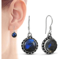 Stunning! 925 Sterling Silver Blue Labradorite Earrings
