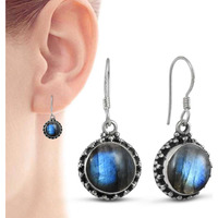 Classy Design! 925 Sterling Silver Blue Labradorite Earrings