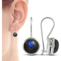 Big Falling In Love!! 925 Sterling Silver Blue Labradorite Earrings