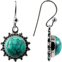 Big Relief Stone ! Turquoise 925 Sterling Silver Earrings