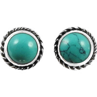 Big Falling In Love ! 925 Sterling Silver Turquoise Stud Earrings