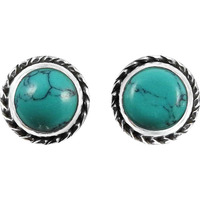 Tropical Glow !! 925 Sterling Silver Turquoise Stud Earrings