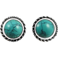 Big Inspire !! 925 Sterling Silver Turquoise Stud Earrings