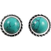 Big Natural !! 925 Sterling Silver Turquoise Stud Earrings