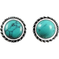 The One !! 925 Sterling Silver Turquoise Stud Earrings
