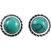 New Faceted !! 925 Sterling Silver Turquoise Stud Earrings
