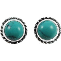 Paradise Bloom !! 925 Sterling Silver Turquoise Stud Earrings