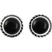 Afternoon Sun ! 925 Sterling Silver Black Onyx Stud Earrings