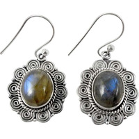 Modern Style!! Labradorite 925 Sterling Silver Earrings