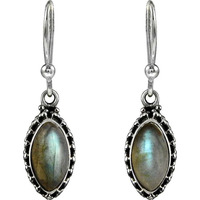 Royal Color ! 925 Sterling Silver Labradorite Earrings