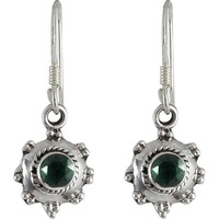Big Royal Style! 925 Silver Green Onyx Earrings