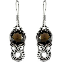 Dainty Daisy! 925 Sterling Silver Smoky Quartz Earrings