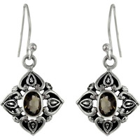 Blooming Garden!! Smoky Quartz 925 Sterling Silver Earrings
