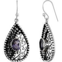 Tropical Glow! 925 Sterling Silver Amethyst Earrings