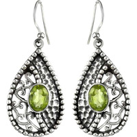 Circle Of Hope!! Peridot 925 Sterling Silver Earrings