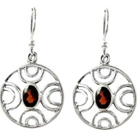 Abstract ! Garnet 925 Sterling Silver Earrings