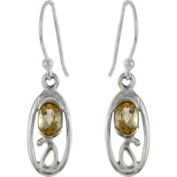 Delicate!! Citrine 925 Sterling Silver Earrings